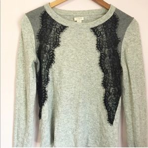 🔆 J. Crew - Lace Detail Wool Blend Sweater Size M